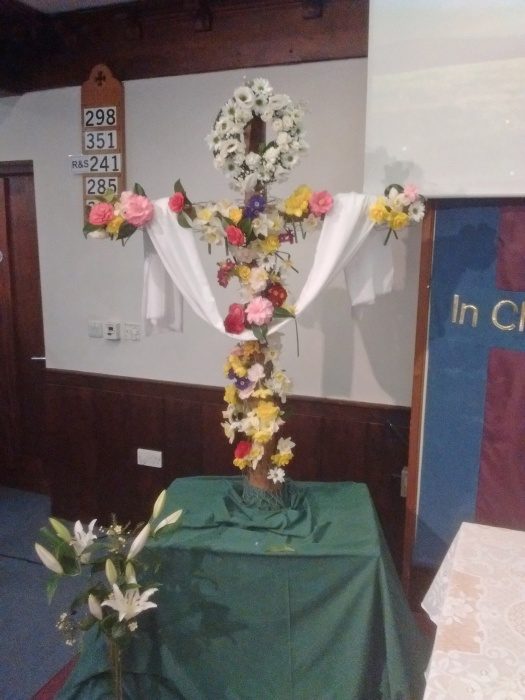 2- Lenten Cross - is decorated with flowers for Easter Day at Trinity