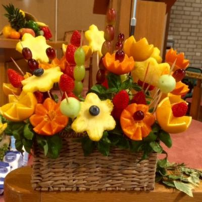 Pulis flower arrangement made from fruit